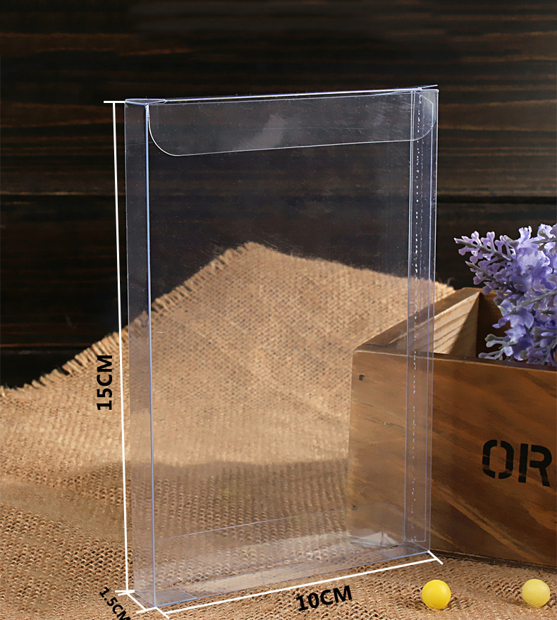 20pcs 1.5*10*15cm Wedding PVC Box Clear Gift Craft Cosmetic Display Box Small Jewelry Packing Holder Transparent Plastic Box