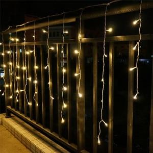 Image 5 - 5 m 96SMD לבן חג פסטיבל וילון חתונה אורות LED מחרוזת רצועת קרח בר מנורת עטור זר מסיבת פיות חג המולד חדש