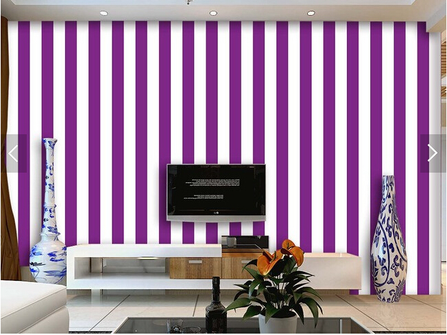 Custom striped wallpaper, purple and white stripes for the living room bedroom TV background wall waterproof papel de parede image