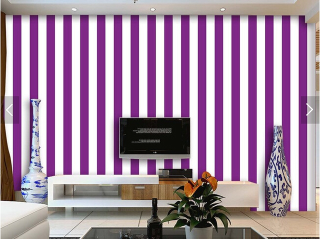 Custom striped wallpaper purple and white stripes for the for Zoom room design