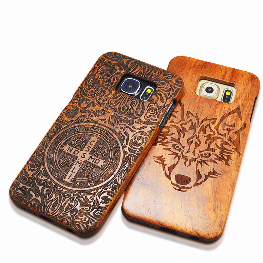 Galleria fotografica Nature Wood Case For iPhone X 8 7 6 6s Plus SE 5 5s Samsung Galaxy S6 S7 edge S8 S9 Plus Note 7 5 4 3 Retro Carving Wooden Cover