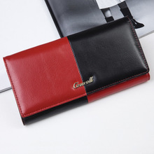 Patchwork Wallet Genuine Leather Women's Purse Simple Elegant Clutch Bags Female Evening Bags Free Shipping