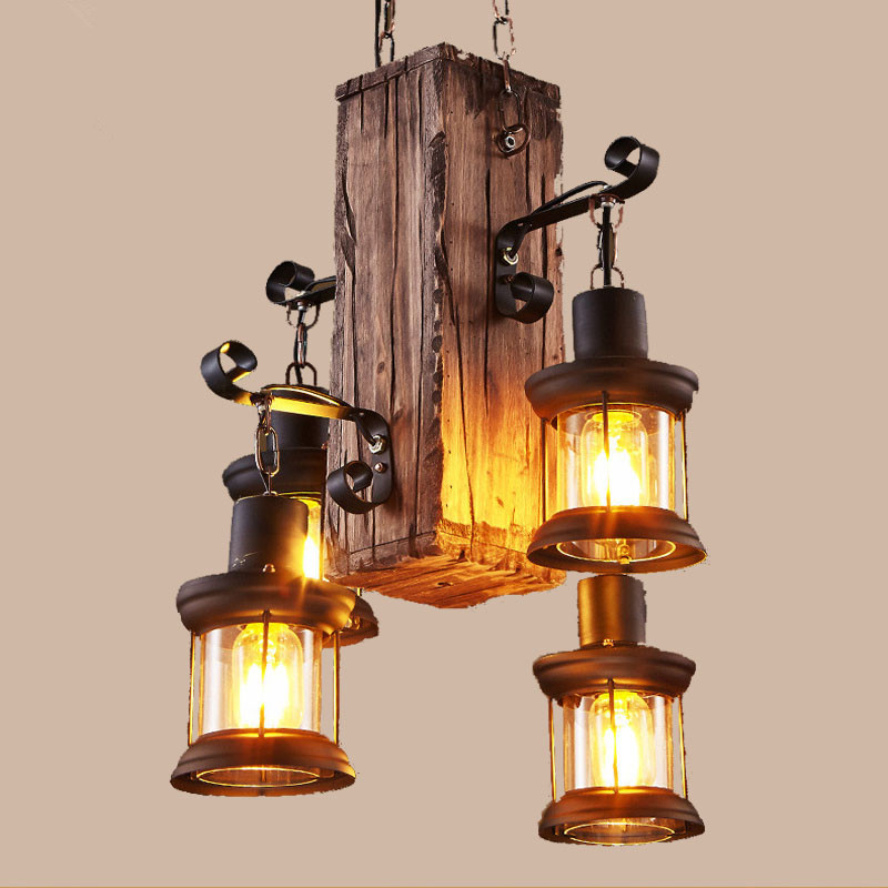 Hanging Bar Lights: Loft Creative Wooden Chandelier Retro Restaurant Bar