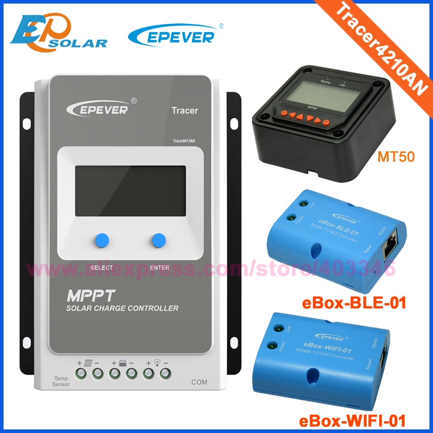 Tracer4210A solar charge controller with ebox WIFI module 40A 12V/24V MPPT solar charge controller for home solar power system china hotsale me mppt2440 24v 40a mppt solar system controller price