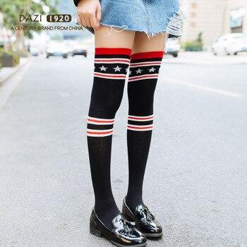 2018 New Spring Autumn Fashion Japanese High Stockings Women Over Knee Socks Stripe Stars Black