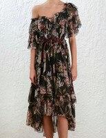 Flounce с открытыми плечами шелковое платье короткий рукав цветочный принт для женщин элегантное миди Vestido Лето Одежда для отпуска, пляжные пла