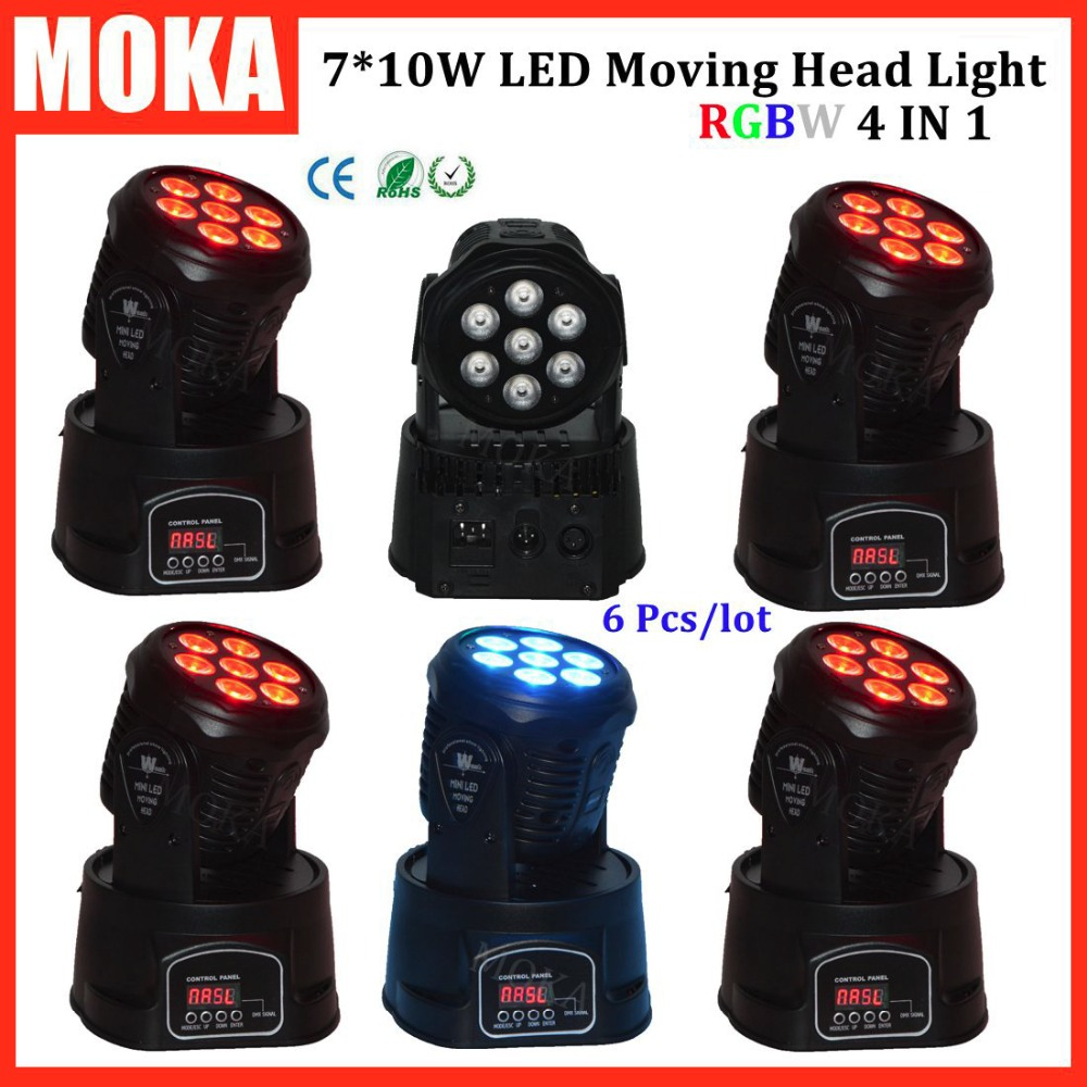 6 Pcs/lot hot 7*10w mini moving head led stage lighting for sale dj light for club Professional Party Disco Show
