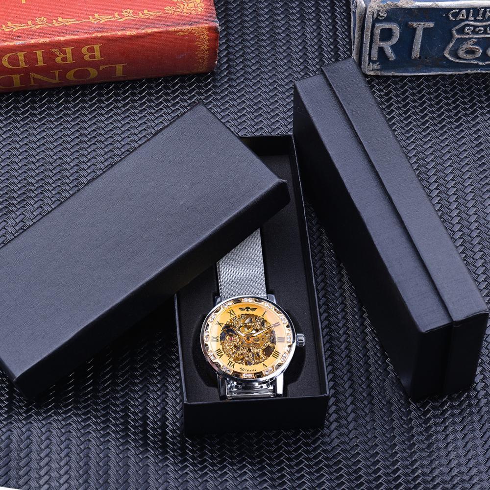 Winner Casual Mechanical Watches For Men Golden Roman Fashion Stainless Steel Belt Mesh Strap Wristwatch Clock Relogio Masculino