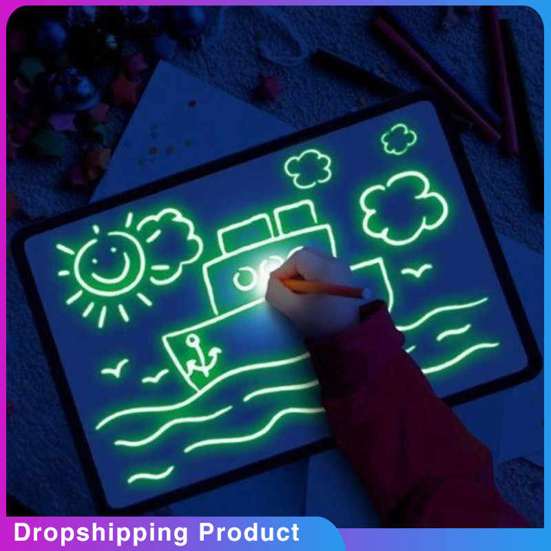 Children's Illuminate Drawing Board Glowing Paint Glow Light Tablet Draw With Light Fun And Developing Dropship May29 Kid Toy