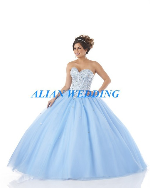 Aliexpress.com : Buy Latest Design Baby Blue Quinceanera Dress ...