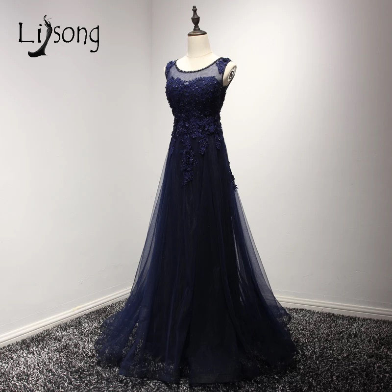 High End Dubai Navy Blue Abendkleider Long Evening Dresses Crystal Appliques Organza Prom Gowns Vintage Robe De Soiree A084