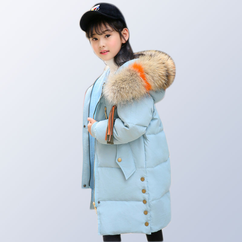 Children's down jacket girls long section thick winter kids outerwear for -30 degree winter for teen girl 6 8 10 12 14 years old 2018 children down jacket girls winter long section kids clothing thick coat 30 degree warm outerwear for 7 9 10 11 13 years