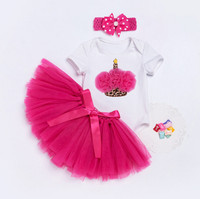 Newborn Birthday Baby Girl Clothes Sets Toddler Christening Party Costume For Kids Suits Romper Tutu Skirt