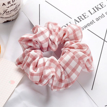 1PC Korean Mix Color Plaid Elastic Hair Bands For Women Chiffon Ponytail Hair Accessories Hair Tie Scrunchie Holder Rope Ladies buttermere ladies fur ball elastic hair bands headwear women hair accessories korean rubber hair rope ladies ponytail holder