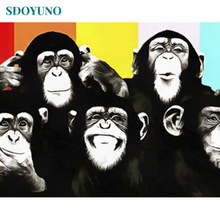 SDOYUNO 60x75cm Painting By Numbers Animals Chimpanzees and monkeys DIY Frameless number painting On Canvas For Home Decor(China)