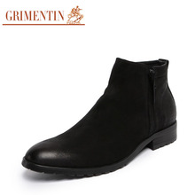 GRIMENTIN Men Boots Casual Ankle Boots Genuine Leather Suede Luxury Handmade Plain Zip Autumn Winter Work Boot For Male