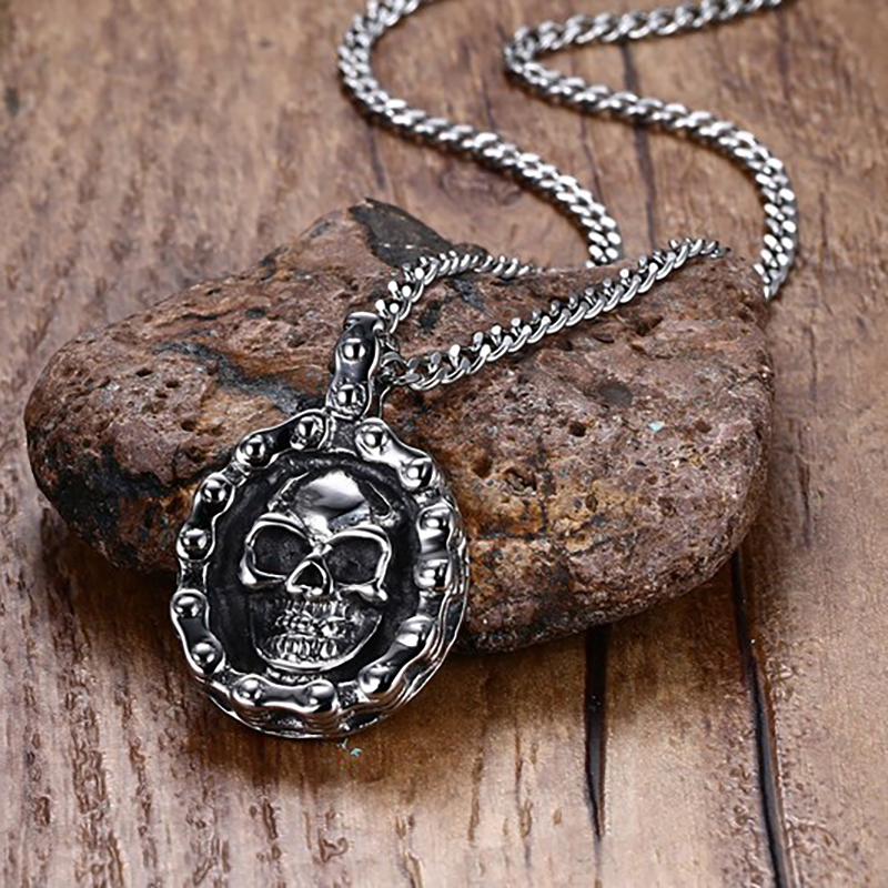 European Trendy Jewelry Men 35MM Bicycle Chain Ghost Head Pendant Steel Color Male Accessories
