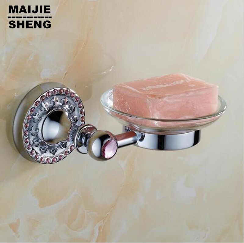 Pink crystal bathroom chrome Soap basket soap dish soap holder bathroom accessories,bathroom furniture toilet vanity accessories