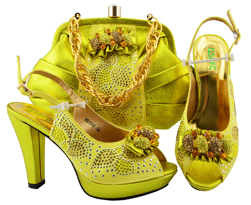African Fashion Yellow Women Pumps Shoes and Bags Italian Design Shoes With Matching Bag Set For Wedding Party MM1066 2016 italian shoes with matching bags for party high quality african shoes and bags set for wedding