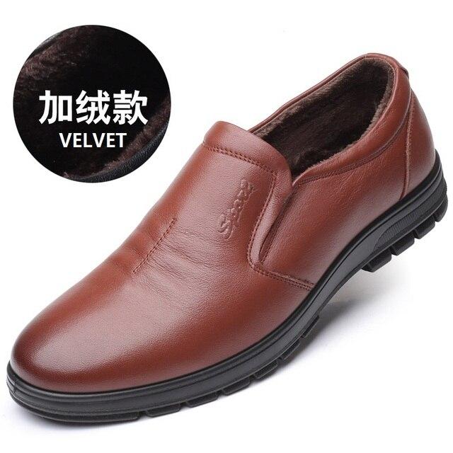 9225 Fashion 38-47 Plus Size Round Head Men's Casual Shoes Velvet Single Shoe Big-size Cowhide Leather Shoes