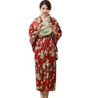 Japanese Traditional Women Silk Rayon Kimono Vintage Yukata With Obi Performance Dance Dress Halloween Costume One Size HL01