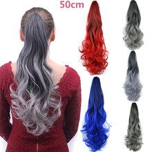Fashion Synthetic Wavy Clip In Pony Tail Women Natural Thick Hair Extensions Claw Clip On Ponytail As Human(China)