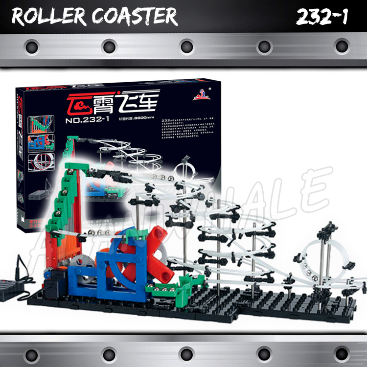 860cm Rail Marble Run Gear Drive Stairs Maze Race Roller Coaster Electric Elevator Model Building Gifts Rolling ball Sculpture