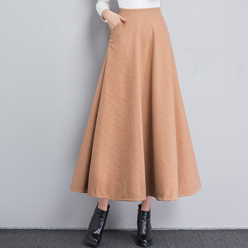 Mid Big sky khaki 2018 Blue Woman burgundy Retro Black Hem claf green Fashion Grey Skirt dark Solid Skirts Woolen Winter Multiflora 8AfYqw