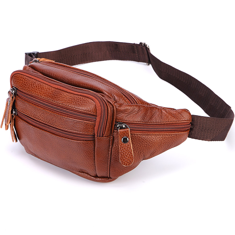 New 2019 Genuine Leather Waist Packs Fanny Pack Belt Bag Phone Pouch Bags Travel Waist Pack Male Small Waist Bag Leather Pouch