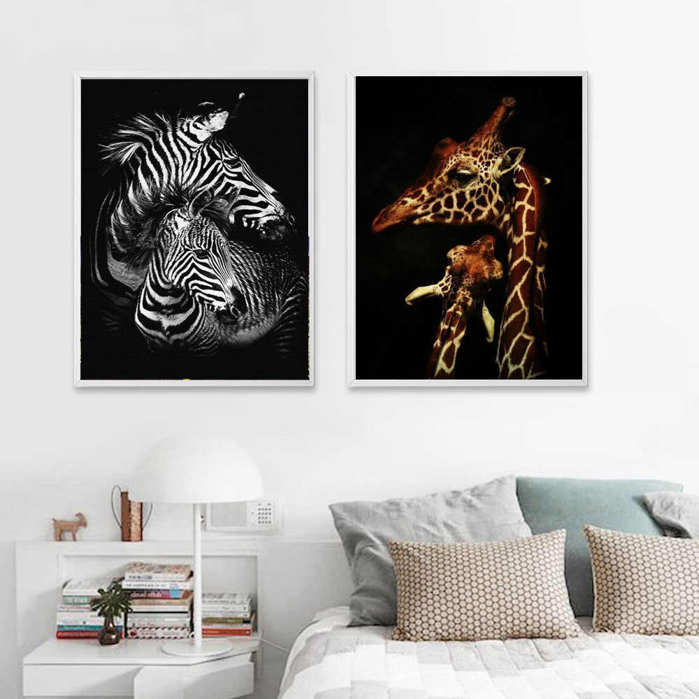 Nordic Style Kids Room Posters Zebra Giraffe Animals Canvas Painting Hd Print Wall Art Picture For Living Room Home Decoration