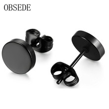 OBSEDE Stainless Steel Ear Studs font b Earrings b font Black Plated Round Shaped with Butterfly