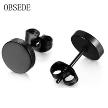 OBSEDE Stainless Steel Ear Studs Earrings Black Plated Round Shaped with Butterfly Clasp Push Back Earrings Women Men Earrings