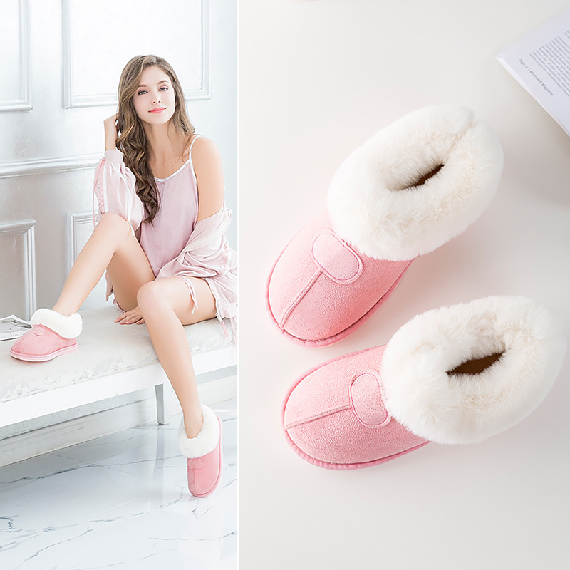 Women Ankle Boots Plus Size 43-46 Plush Suede Warm Rubber Boots Woman Faux Fur Solid Winter Boots Female Botas Mujer