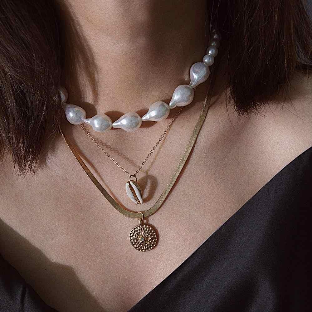 KMVEXO Boho Gold Pearl Choker สร้อยคอสำหรับผู้หญิง Party เปลือก Sun ดอกไม้เหรียญสร้อยคอแฟชั่นเครื่องประดับงานแต่งงานของขวัญ