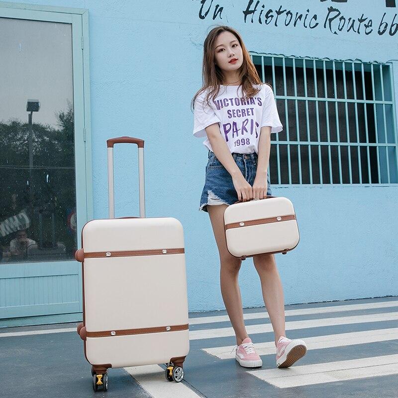 De gros! 14 20 22 24 26 pouces abs hardside trolley ensemble de bagages, vintage ceinture voyage boîte à bagages pour fille, rétro sac à bagages ensemble