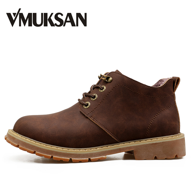 VMUKSAN Hot Sale Men Boots Fashion Lace Up Mens Winter Boots High Quality Designer Furry Snow Boot For Man