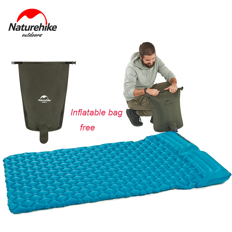 Naturehike New Double Inflatable Air Mattress With Two Pillows Outdoor Camping Mat For Tent Beach Folding Camp Bed about 965g funny summer inflatable water games inflatable bounce water slide with stairs and blowers