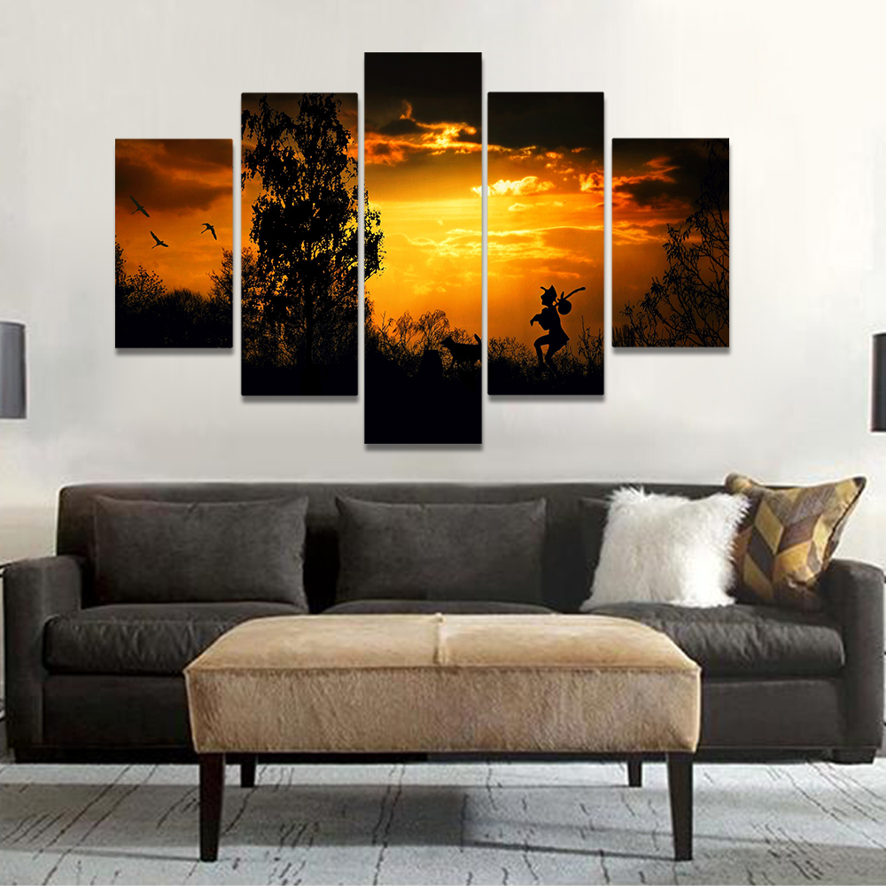 Unframed Canvas Art Painting Dusk Sunset Mountain Forest Walking People Prints Wall Pictures For Living Room Wall Art Decoration
