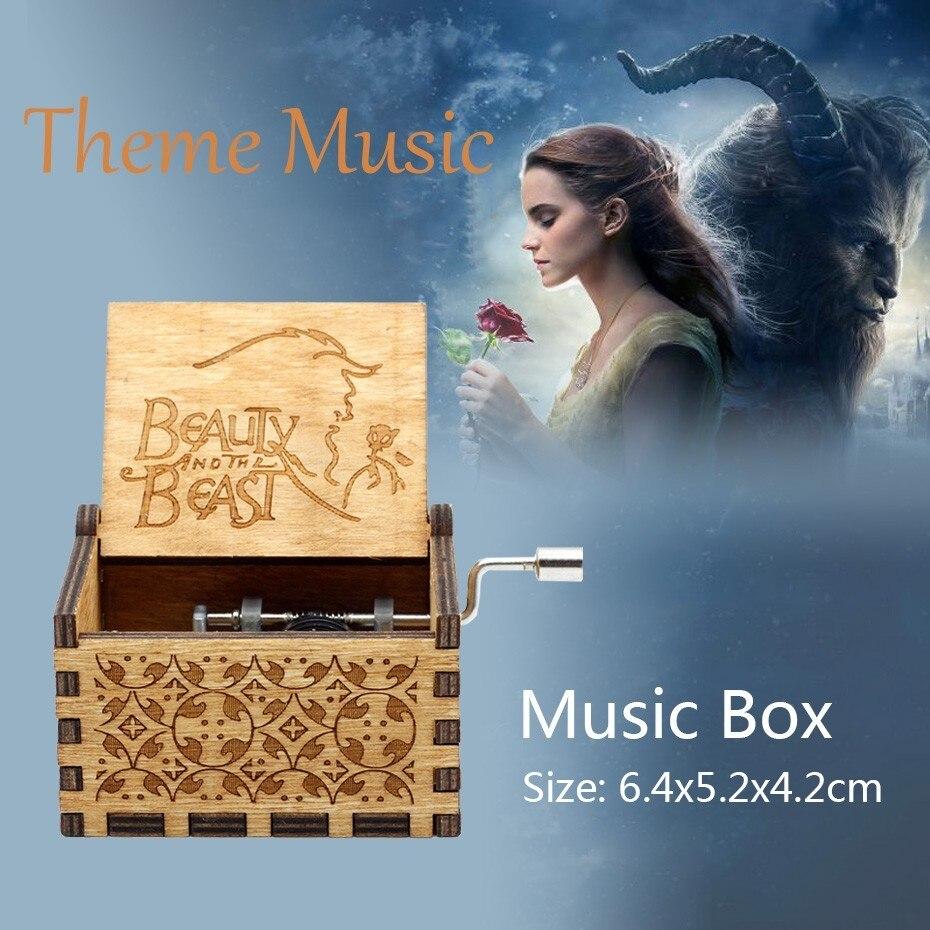 Красавица и Чудовище красная роза в колбе стеклянный купол на деревянной основе для подарка на Рождество украшение стола для дома вечные цветы - Цвет: Theme Music Box