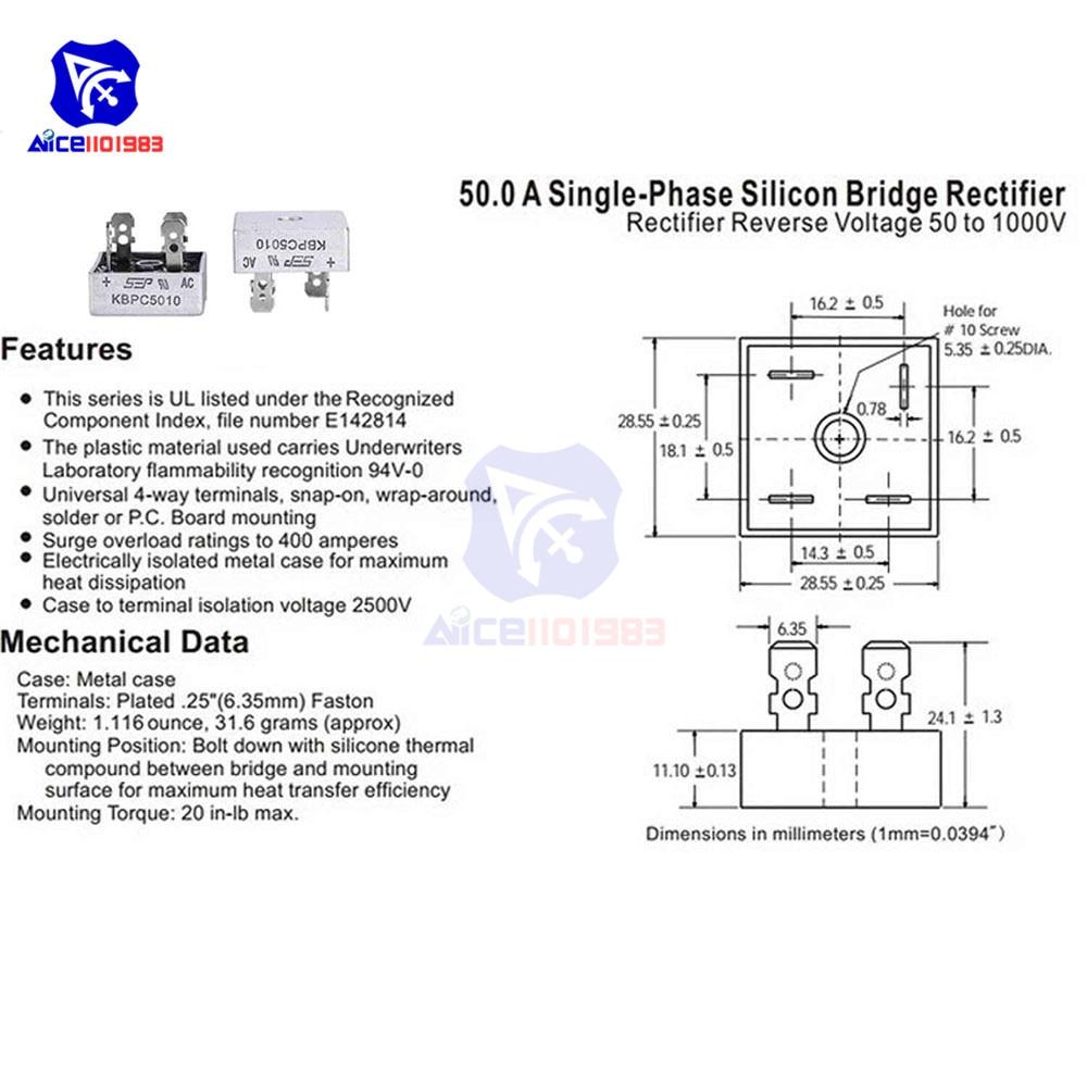 5 шт./лот KBPC5010 Мостовой выпрямитель 50A 1000 В AC металлический чехол однофазный диодный мостовой выпрямитель