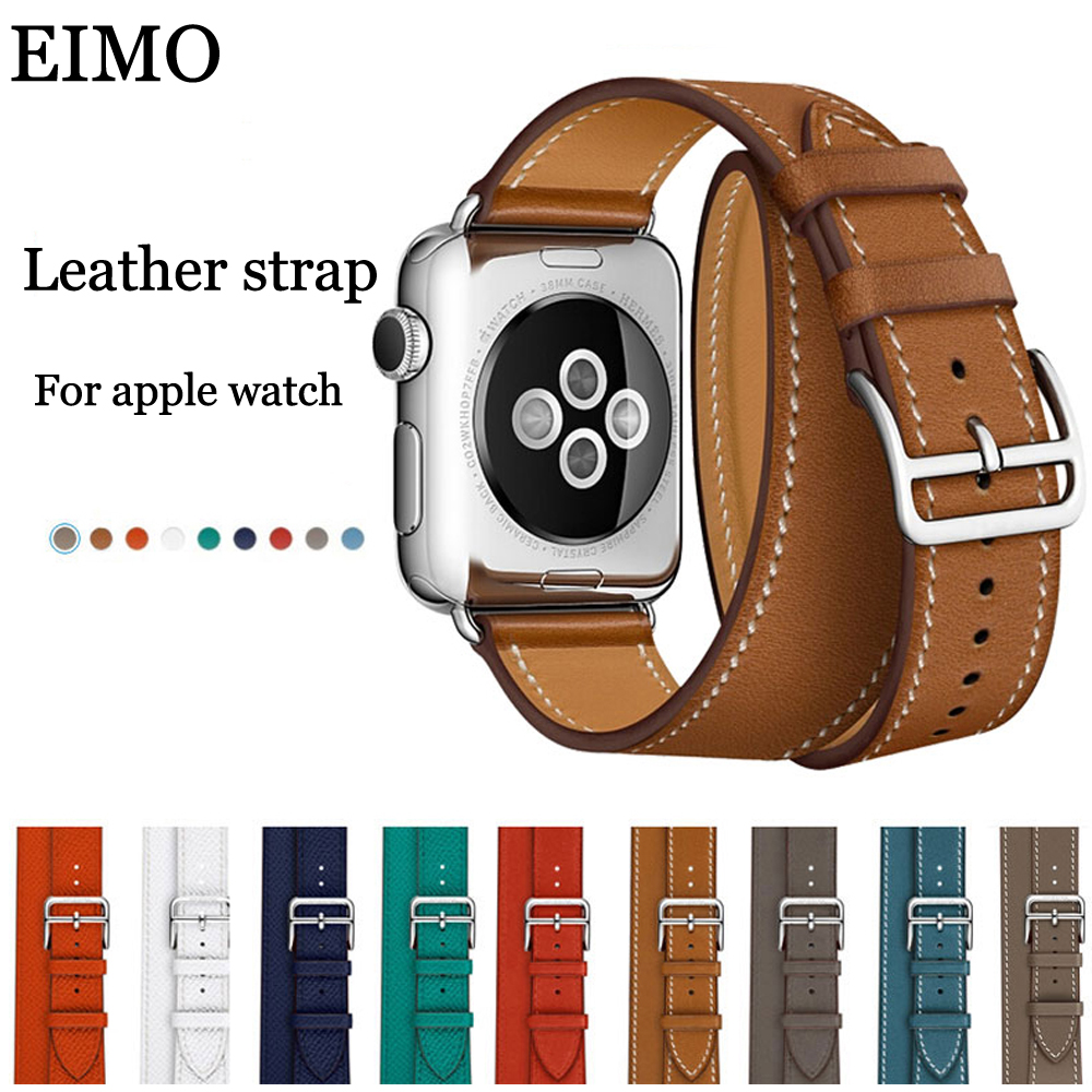 EIMO Double Tour Genuine Leather Strap for Apple Watch Band 42mm 38mm Bracelet Wrist Watchband Belt iwatch series 3/2/1 Hermes fohuas extra long genuine leather band double tour bracelet leather strap watchband for apple watch series 2 38mm amd 42mm woman