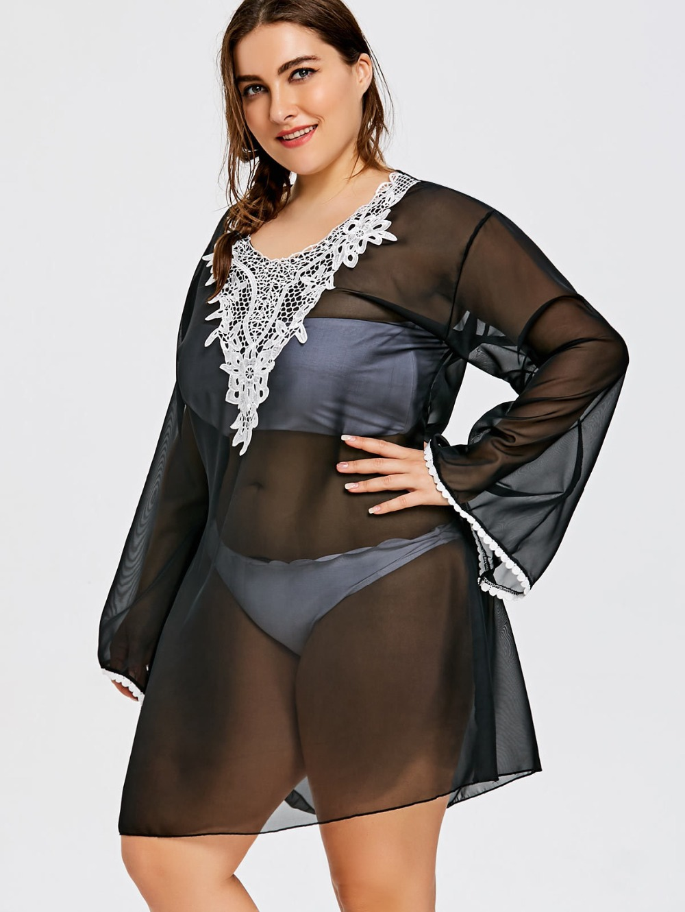 Plus Size Chiffon Bell Sleeve Lace Floral Larger Size Swimwear Tank Cover up Tunic Black Beach Dress For Women
