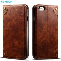 KEYSION Vintage PU Leather Case For IPhone 6 6S Plus Flip Case Wallet Card Slots Soft