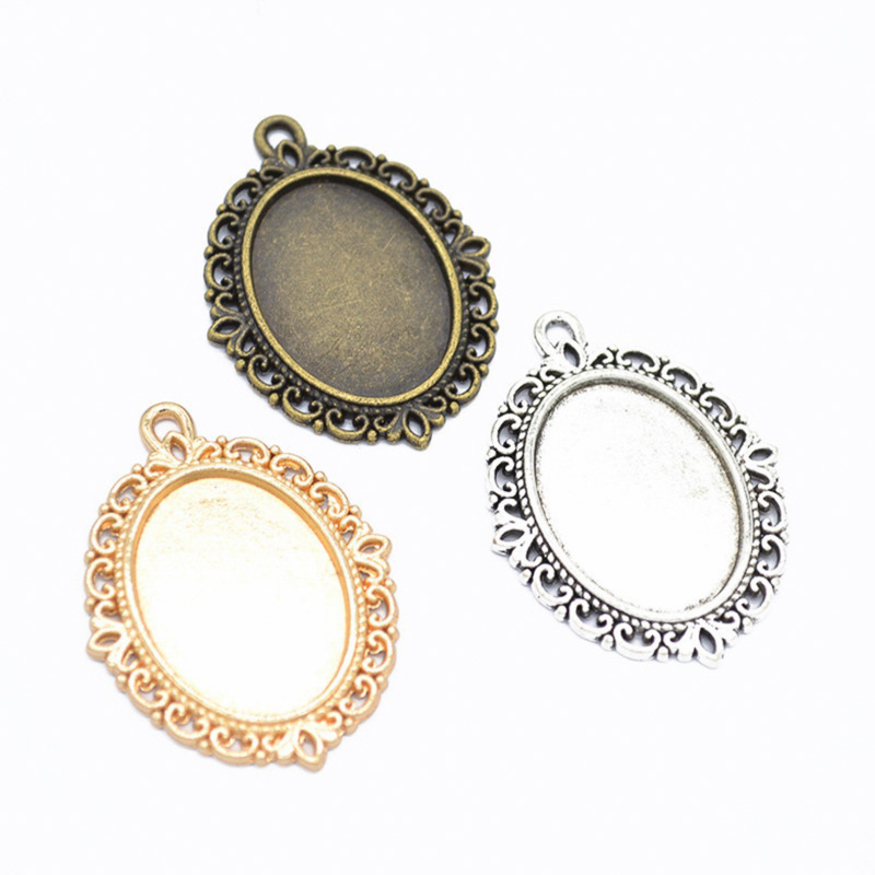 REGELIN 10pcs/lot 18x25mm Oval Pendant Blank Settings Cabochons Bases Bezel Trays Fit Cabochon Cameo DIY Necklace Jewelry Making