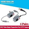 5 pares cctv acessórios da câmera de áudio e vídeo balun transceptor bnc RJ45 UTP Vídeo Balun com Áudio e Power over CAT5/5E/6 cabo