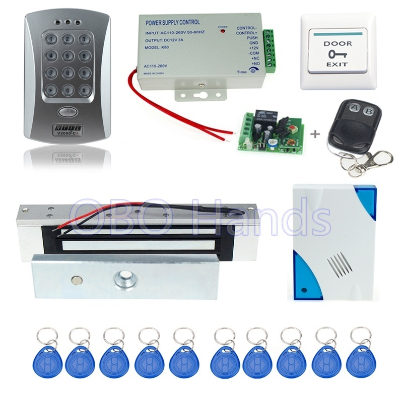 Free shipping access control V2000-C+model+electronic magnetic lock +power supply+key fobs+door bell+exit button+remote control free shipping rfid access control system 8618a electronic bolt lock power supply key fobs door bell exit button remote control