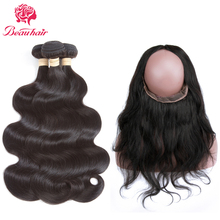 Beau Hair Brazilian Body Wave 3 Bundles With 360 Lace Frontal Deals Natural Color Non-Remy Human Hair Weaving With Closure Deals