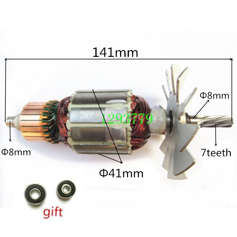 7 Teeth AC220-240V Rotor Motor Armature Replacement for MAKITA 4300BV 512065-5 518257-4 Hammer Drill Parts ac 220 240v armature motor rotor replacement for bosch gbm500re gsb450re psb400re gsb13re gbm400re armature parts engine