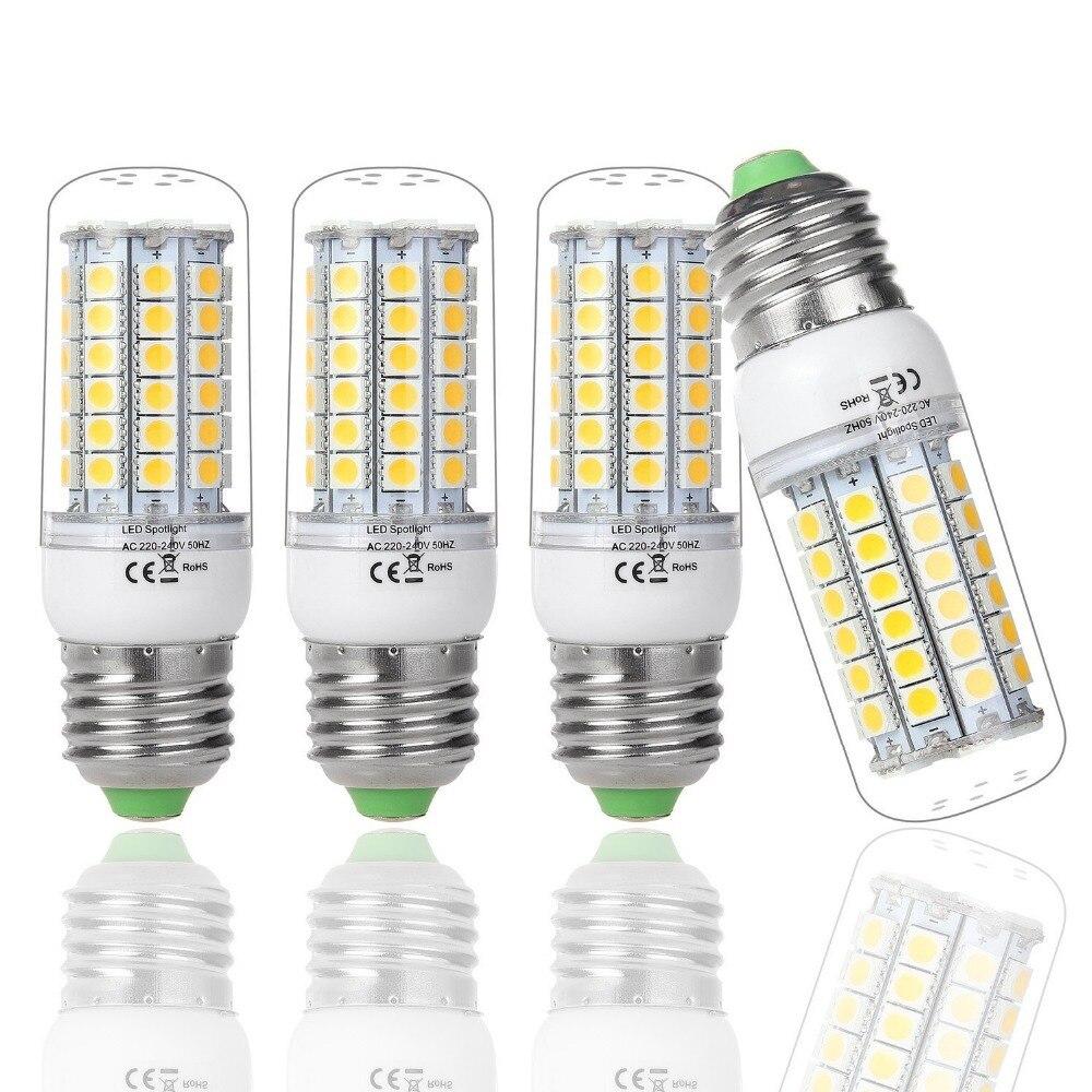 HOT SALE !!! 4XE27 69 Leds SMD 5050 LED Bulb Lamp ,Warm White/white,9W 220V-240V 5050 SMD E27 LED Corn Chandelier Light