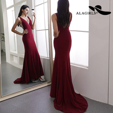 Alagirls 2019 New Arrival Mermaid Evening Dress Elegant V Neck Gowns Deep Back Party dress Sexy Prom Dresses